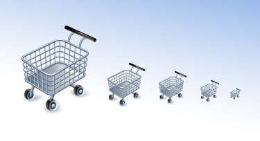 The Shopping Cart Icon in several sizes