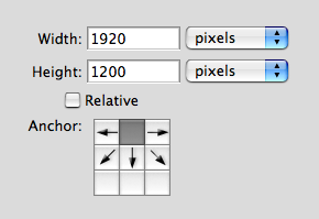 Canvas size Settings in Photoshop